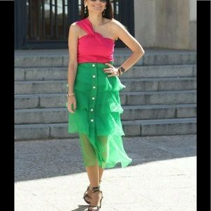 Zara Green Organza Midi Embellished Button Skirt